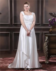 Charmeuse Beading Applique Square Neck Sweep Plus Size Bridal Gown Wedding Dresses