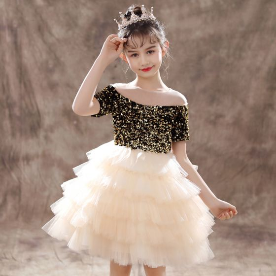Two Tone Black Champagne Flower Girl Dresses 2020 Ball Gown See-through Scoop Neck Short Sleeve Sequins Short Cascading Ruffles