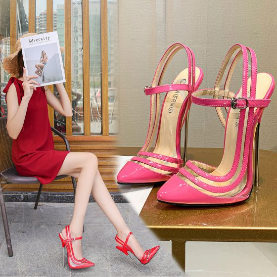 Sexy Candy Pink Rave Club Womens Sandals 2020 15 cm Stiletto Heels Pointed Toe Heels
