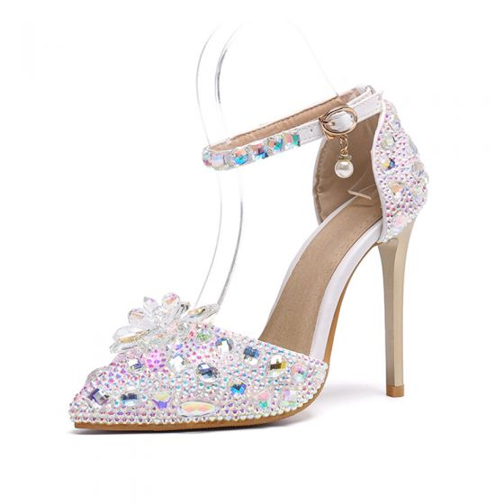 Charming Multi-Colors Wedding Shoes 2019 Ankle Strap Crystal Rhinestone 11 cm Stiletto Heels Pointed Toe Wedding High Heels