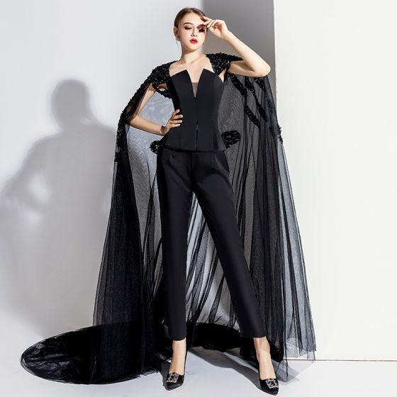 Uroczy Czarne Sukienki Wieczorowe Kombinezon Z płaszczem 2020 Bez Ramiączek Bez Rękawów Bez Pleców Trenem Sąd Sukienki Wizytowe