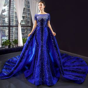 Luxury / Gorgeous Royal Blue Red Carpet Evening Dresses  2020 Trumpet / Mermaid See-through Square Neckline Short Sleeve Appliques Lace Beading Rhinestone Detachable Chapel Train Ruffle Backless Formal Dresses