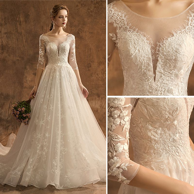 Elegant Champagne Wedding Dresses 2019 A-Line / Princess Scoop Neck Lace Flower Star 3/4 Sleeve Backless Chapel Train