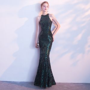 Sparkly Dark Green Evening Dresses  2018 Trumpet / Mermaid Strapless Sleeveless Sequins Floor-Length / Long Formal Dresses