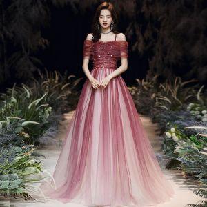 Eleganckie Burgund Sukienki Wieczorowe 2020 Princessa Przy Ramieniu Kótkie Rękawy Frezowanie Rhinestone Cekinami Tiulowe Długie Wzburzyć Bez Pleców Sukienki Wizytowe