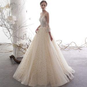 Elegant Champagne Wedding Dresses 2019 A-Line / Princess Spaghetti Straps Backless Beading Sleeveless Glitter Star Tulle Floor-Length / Long Ruffle
