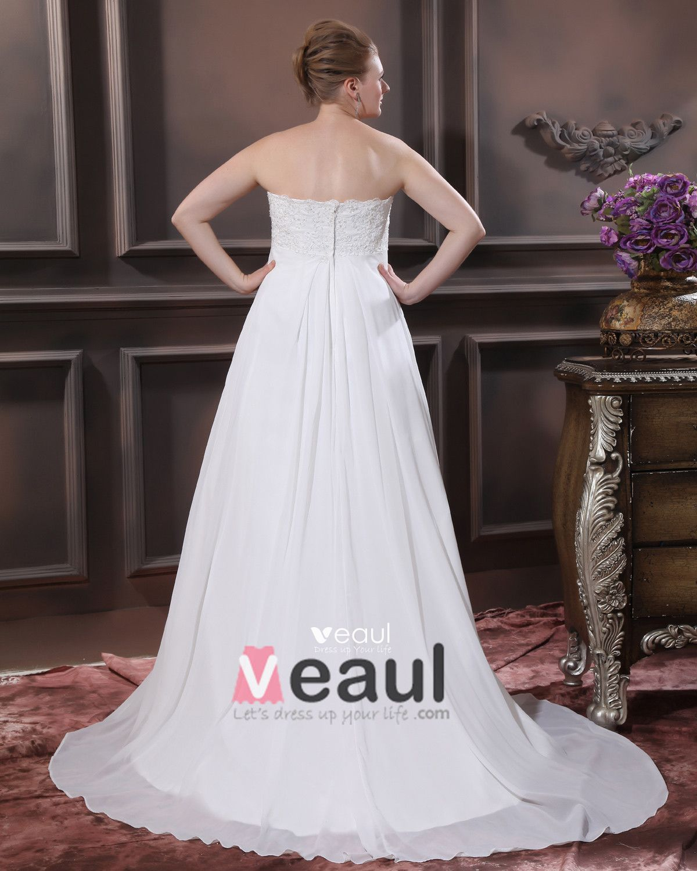Satin Chiffon Applique Sweetheart Court Plus Size Bridal Gown Wedding Dresses