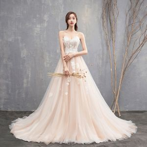 Modest / Simple Champagne Wedding Dresses 2018 A-Line / Princess Spaghetti Straps Sleeveless Backless Appliques Lace Ruffle Cathedral Train