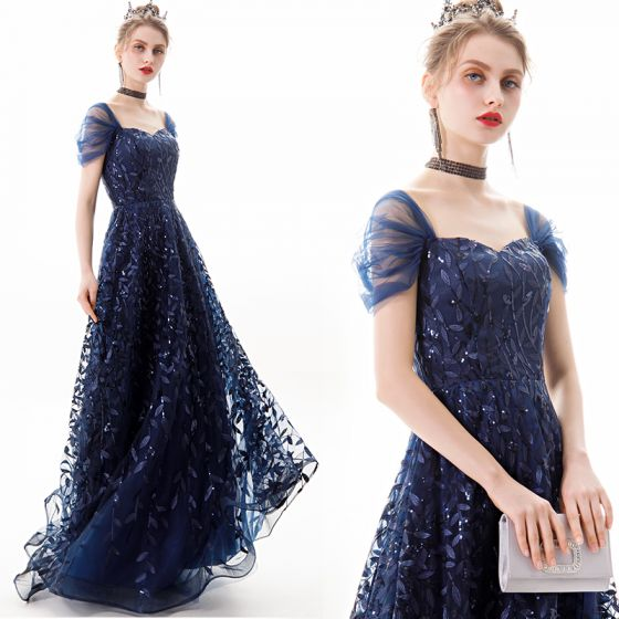 Elegancka Granatowe Sukienki Wieczorowe 2019 Princessa Kwadratowy Dekolt Cekiny Z Koronki Kwiat Kótkie Rękawy Bez Pleców Długie Sukienki Wizytowe