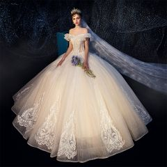 Best Ivory Outdoor / Garden Wedding Dresses 2019 A-Line / Princess Off-The-Shoulder Short Sleeve Backless Appliques Lace Beading Glitter Tulle Floor-Length / Long Ruffle