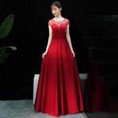 Chic / Beautiful Burgundy Evening Dresses  2019 A-Line / Princess Scoop Neck Sequins Short Sleeve Backless Floor-Length / Long Formal Dresses