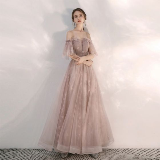 Classy Nude Prom Dresses 2020 A-Line / Princess Ruffle Off-The-Shoulder Star Lace Short Sleeve Backless Floor-Length / Long Formal Dresses
