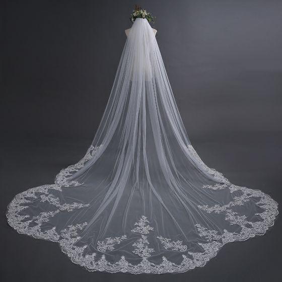 Chic / Beautiful White Wedding 2017 4 m Tulle Appliques Wedding Veils