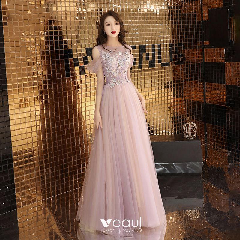 af4d5bd179cf Elegante Rosa Clara Vestidos de noche 2019 A-Line / Princess Escote ...