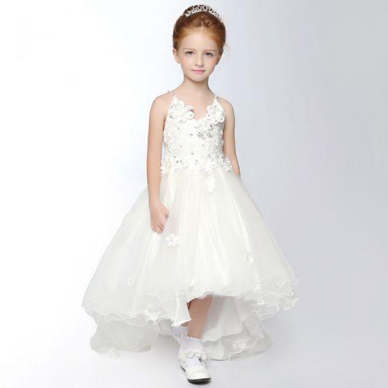 a9885d495e7 Chic   Belle Église Robe Pour Mariage 2017 Robe Ceremonie Fille Blanche  Asymétrique Princesse V-Cou Sans Manches Dos Nu ...