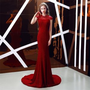 Chinese style Burgundy See-through Evening Dresses  2019 Trumpet / Mermaid High Neck Sleeveless Rhinestone Beading Glitter Polyester Sweep Train Formal Dresses