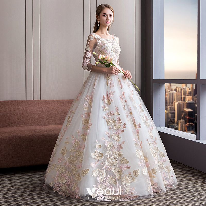 Long Sleeve Lace Wedding Dresses Ball Gown Backless: Amazing / Unique Ivory Wedding Dresses 2018 Ball Gown
