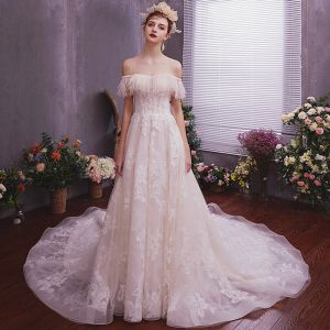 Elegant Champagne Wedding Dresses 2019 A-Line / Princess See-through Scoop Neck Short Sleeve Backless Appliques Lace Feather Glitter Tulle Court Train Ruffle