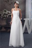 Einfache Halfter Ärmellose Bördelnde Lange Hochzeitskleid Brautkleid
