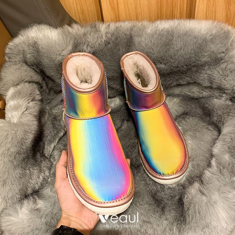 Stunning Bling Bling Regenboog Multi Kleuren Snowboots 2020 Wollen Laser Lakleer Leer Tuin Outdoor Toevallig Dames Laarzen