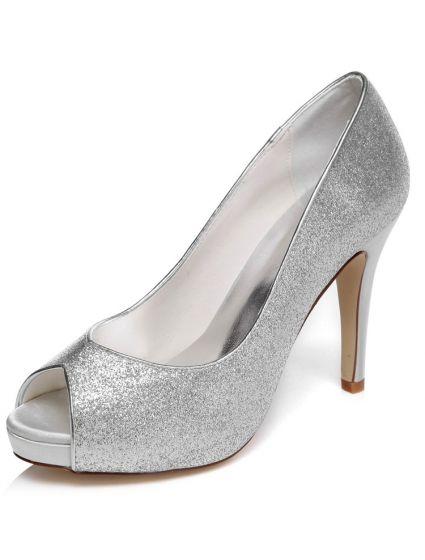 Chaussures De Mariage Sparkly Paillettes Talon Haut En Argent Chaussures De Mariée Escarpins Talons Aiguilles