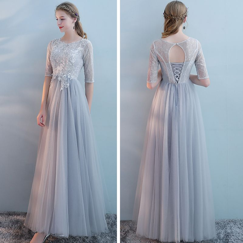 Elegant Grey Bridesmaid Dresses 2018 A-Line / Princess Short Sleeve Appliques Lace Floor-Length / Long Ruffle Backless Wedding Party Dresses