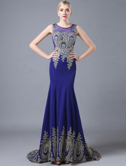 Fashion Mermaid Evening Dresses 2016 Scoop Neck Applique Glitter Lace Royal Blue Satin Long Dress