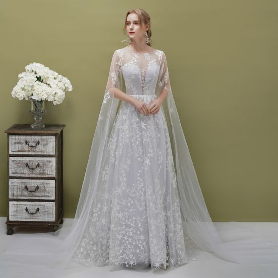 Romantic Silver See-through Evening Dresses  2019 A-Line / Princess Square Neckline 1/2 Sleeves Backless Star Appliques Lace Watteau Train Ruffle Formal Dresses