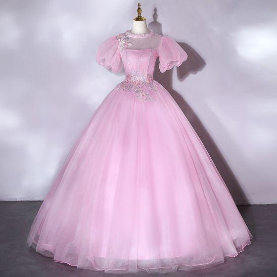 Elegant Candy Pink Prom Dresses 2021 Scoop Neck Pearl Rhinestone Lace Flower Short Sleeve Backless Floor-Length / Long Formal Dresses