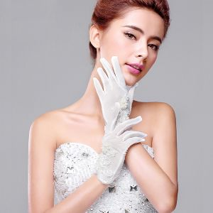 2015 Short Lace Flowers Bridal Gloves