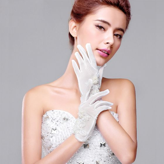 2015 Short Lace Flowers Bridal Gloves