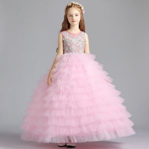 Mejor Rosa Clara Vestidos para niñas 2019 Ball Gown Scoop Escote Sin Mangas Apliques Con Encaje Rebordear Largos Volantes En Cascada Vestidos para bodas