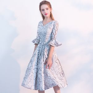 Chic / Beautiful Grey Graduation Dresses 2017 Homecoming V-Neck Striped Printing Polyester Summer Party Dresses