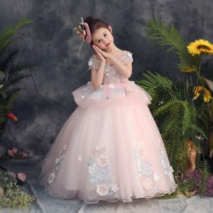 Chic / Beautiful Pearl Pink Flower Girl Dresses 2019 Ball Gown Off-The-Shoulder Spaghetti Straps Short Sleeve Appliques Lace Pearl Beading Sweep Train Ruffle Backless Wedding Party Dresses