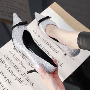 Chic / Beautiful Silver Dating Womens Shoes 2019 Bow Rhinestone 6 cm Stiletto Heels Pointed Toe Pumps