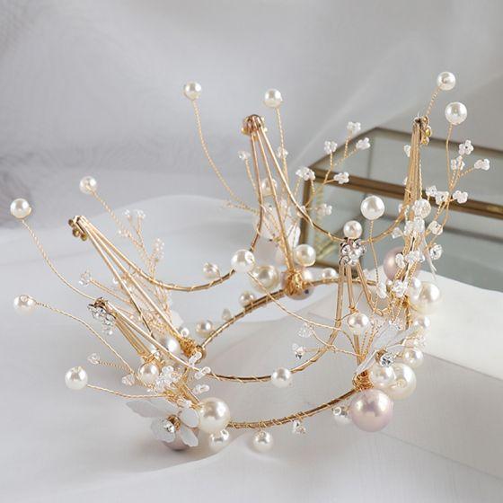 Piękne Złote Biżuteria Ślubna 2020 Stop Frezowanie Perła Kolczyki Tiara Ślub Akcesoria