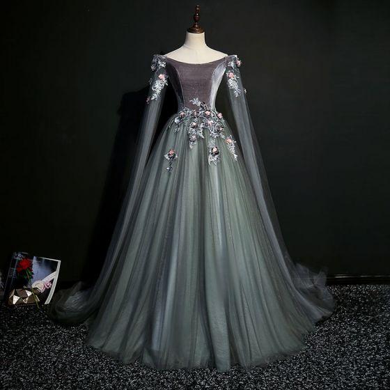 Élégant Gris Robe De Bal 2019 Princesse Encolure Dégagée Paillettes En Dentelle Fleur Manches Longues Dos Nu Longue Robe De Ceremonie