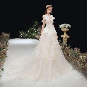 Snygga / Fina Champagne Brud Bröllopsklänningar 2020 Prinsessa Genomskinliga Djup v-hals Rosett Axlar Ärmlös Halterneck Appliqués Spets Domstol Tåg Ruffle