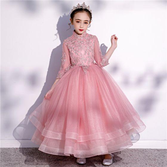Vintage Pink Geburtstag Blumenmädchenkleider 2020 Ballkleid Stehkragen 3/4 Ärmel Applikationen Spitze Pailletten Knöchellänge Fallende Rüsche