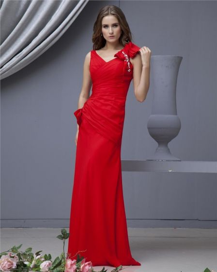 Chiffon Bowtie V Neck Floor Length Bridesmaid Dresses
