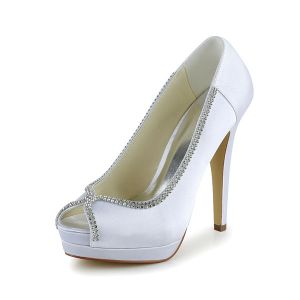 Elegant White Bridal Shoes Peep Toe High Heel Platform Pumps With Rhinestone