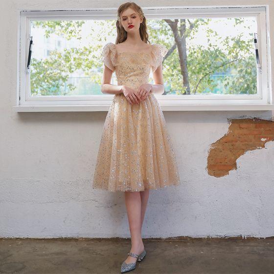 Fashion Champagne Homecoming Sequins Graduation Dresses 2021 A-Line / Princess Square Neckline Short Sleeve Backless Tea-length Formal Dresses
