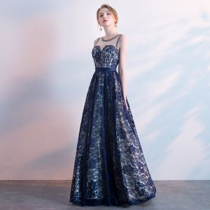 Chic / Beautiful Navy Blue Evening Dresses  2018 A-Line / Princess Sash Beading Crystal Lace Scoop Neck Backless Sleeveless Floor-Length / Long Formal Dresses