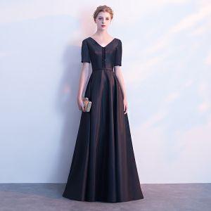 Chic / Beautiful Black Satin Evening Dresses  2019 A-Line / Princess V-Neck Short Sleeve Sash Beading Floor-Length / Long Ruffle Backless Formal Dresses