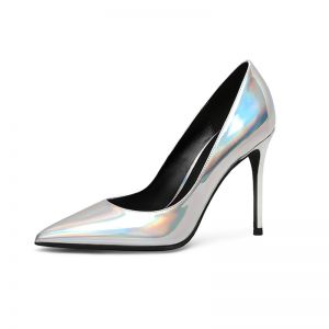 Fashion Silver Laser Evening Party Pumps 2020 Patent Leather 10 cm Stiletto Heels Pointed Toe Pumps