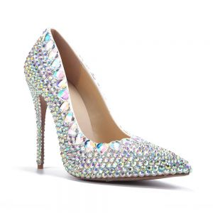 Chic / Beautiful Multi-Colors Evening Party Pumps 2020 Leather Rhinestone 11 cm Stiletto Heels Pointed Toe Pumps