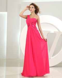 One Shoulder Neckline Floor Length Lace Paillette Chiffon Woman Evening Party Dress