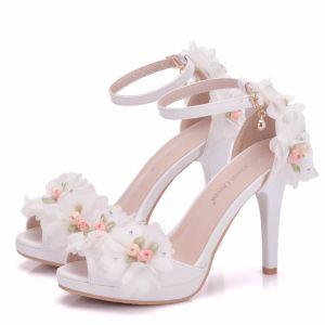 Moderne / Mode Blanche Chaussure De Mariée 2018 Appliques Faux Diamant Bride Cheville 8 cm Talons Aiguilles Peep Toes / Bout Ouvert Mariage Talons Hauts