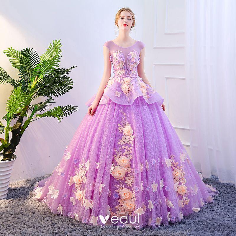 a27e76e19 Hada de las flores Fucsia Vestidos de gala 2018 Ball Gown Apliques Perla  Scoop Escote Sin ...