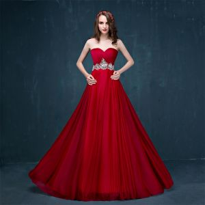 Modern / Fashion Burgundy Evening Dresses  2017 A-Line / Princess Sweep Train Cascading Ruffles Sweetheart Sleeveless Backless Rhinestone Crystal Sequins Formal Dresses